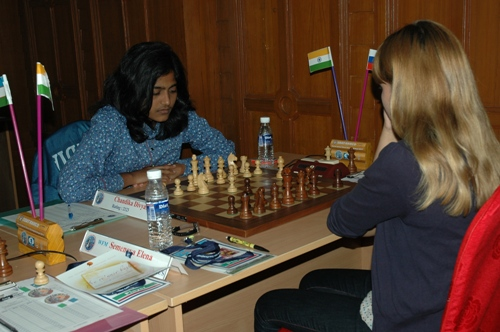 C Divyasree playing Woman FIDE Master Elena Semenova of Russia