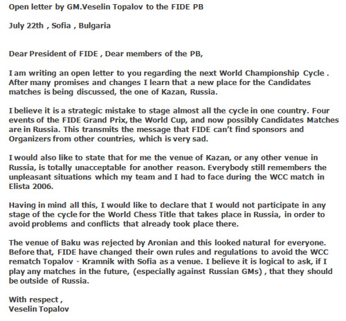 Open letter by veselin topalov regarding the candidate matches letter topalov altavistaventures