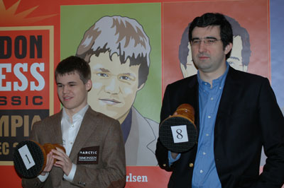 Carlsen and Kramnik at the inaugural tournament in 2009. Photo by Frederic Friedel.