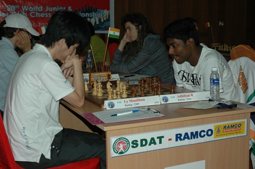 Ly Moulthun of Australia playing Grandmaster Adhiban Baskaran