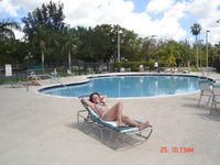 Martha Fierro near the pool