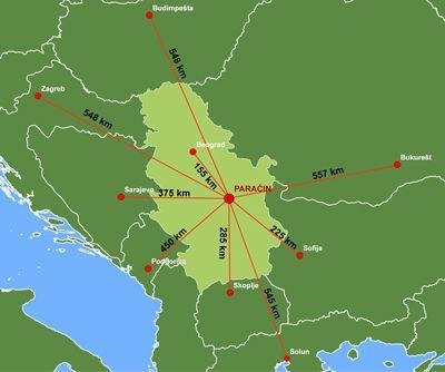 Paracin mapa