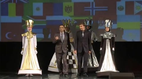 Karjakin, the rating favorite, drawing the colors
