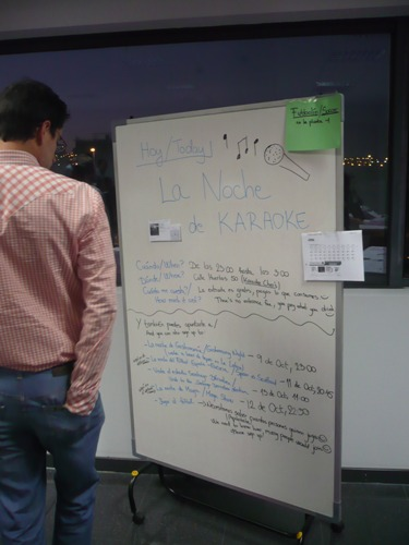 A player examining the board of events