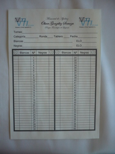 A special scoresheet has been designed for the event