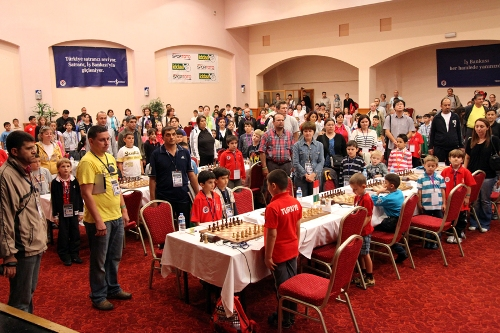 During the opening ceremony all players and guests rise up for Turkish national anthem and ECU anthem