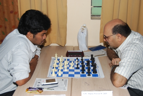Former champion GM Praveen Thipsay beat former Asian Junior champion P Karthikeyan