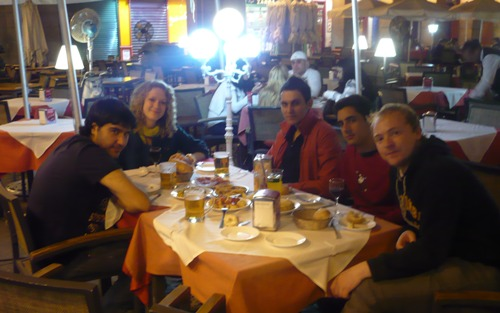 Participants having a typical Spanish dinner at the Plaza Mayor