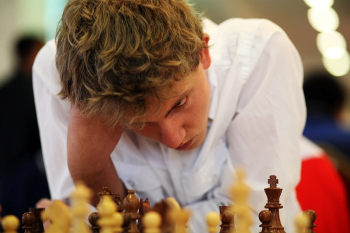 Hasenohr Benedict from Switzerland is very concentrated during the game