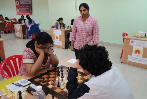 Championship leader Mary Ann Gomes watching the second board game between WGMs Padmini Rout & Kiran Manisha Mohanty