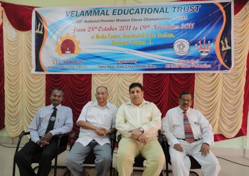 R K Balagunasekaran, Deputy Chief Arbiter, D V Sundar, Vice President, FIDE, Bharat Singh Chauhan, Hon Secretary, AICF, R C Chatterjee, Chief Arbiter