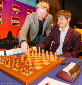 Boris Becker makes the first move of London Chess Classic