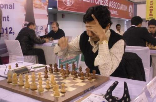 Top seed GM Sandipan Chanda during his match against IM K Rathnakaran