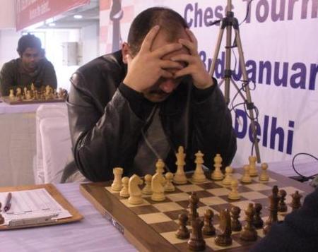 Uzbek GM Marat Dzhumaev in deep thought