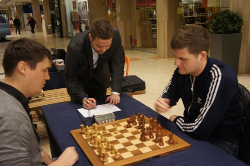Bragi Thorfinnsson and Stefan Kristjansson playing in a shopping mall