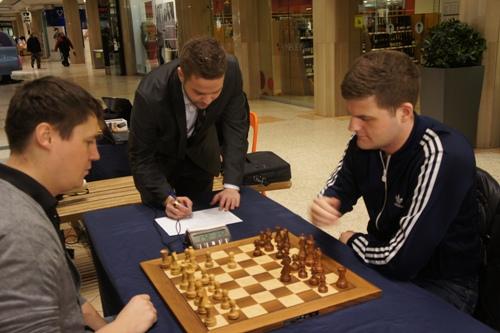 Bragi Thorfinnsson and Stefan Kristjansson playing in a shopping mall