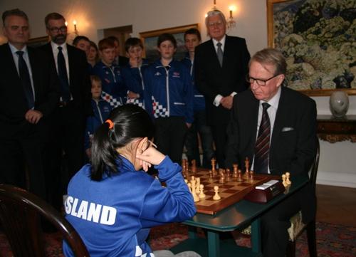 Davisdottir-Olafsson - The President of Iceland watching the game