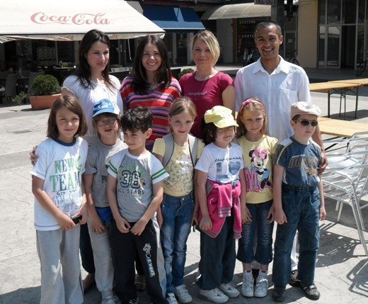 Kids from Zajecar and their chess teacher Vladica Simic