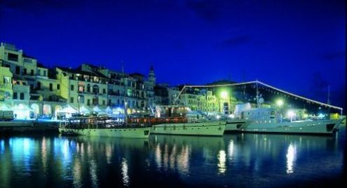Imperia port at night