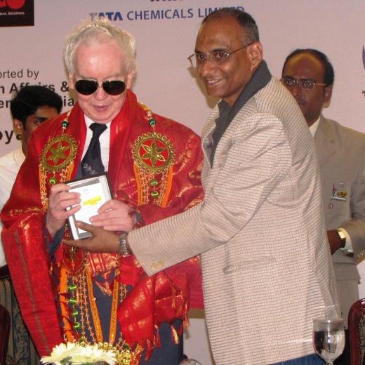 Ludwig Beutelhoff, President, IBCA honored by D V Sundar, Vice President, FIDE