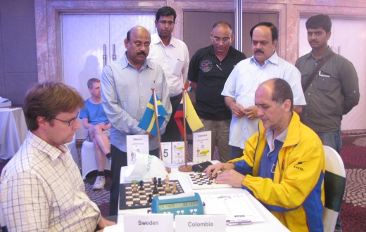 Mr Murugavel, Vice President, Tamil Nadu State Chess Association, Mr D V Sundar, Vice President, FIDE and Mr JCD Prabhakar