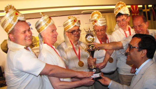 Russian team receiving the trophy from Mr Ajay Maken, Honorable Minister of Youth Affairs & Sports, Government of India