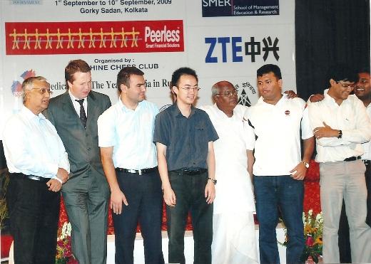 Mr. K S Bagchi (Club President) GM Nigel Short, GM M. Shakhriyar, GM Ni Hua, Mr. Kanti Ganguly (Hon. Sports Minister), GM Surya Shekhar Ganguly and GM Neelotpal Das