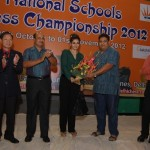 Famous film artist Raveena Tandon welcomed by Shri. Bharat Singh, Secretary AlCF in presence of Mr. Ignatius Lenong Gen Secretary FIDE, AK Verma, Secy DCA and Gopakumar MS, International Arbiter