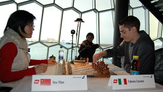 Hou Yifan and Fabiano Caruana