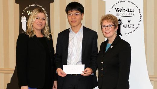 GM Le Quang Liem with Webster University President Dr. Beth Stroble