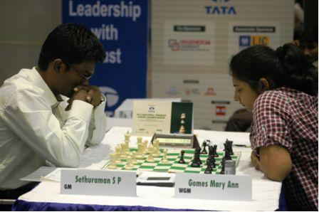 GM SP Sethuraman, former under 16 world champion could not recover from his first round loss on time to WGM Mary Ann Gomes