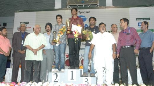 Vidit, Akash and Arun on the podium