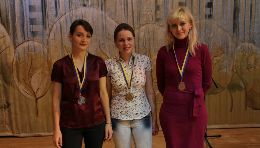 Winners (from left to right - Kateryna Lahno, Mariya Muzychuk and Anna Ushenina)