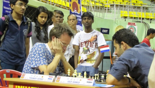 GM Sergei Tiviakov (The Netherlands) playing GM Ahmed Adly (Egypt)