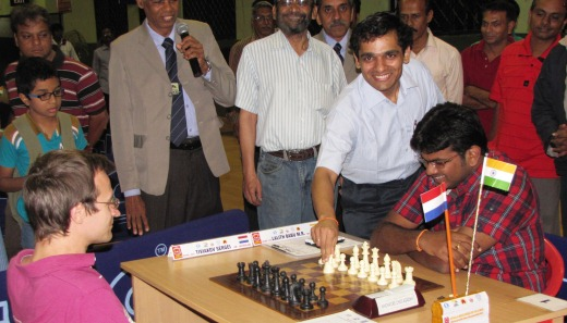 Grandmaster Krishnan Sasikiran inaugurating the seventh round
