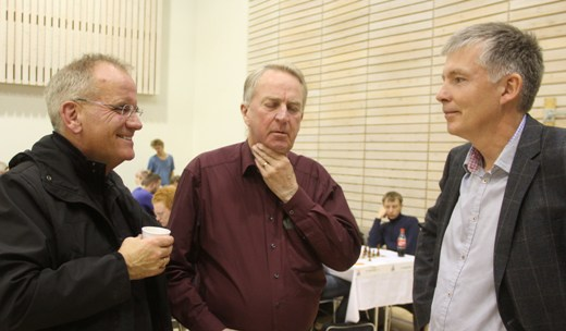 Pall Magnusson, head of Icelandic National Broadcast Service, Fridrik Olafsson and Jon L. Arnason
