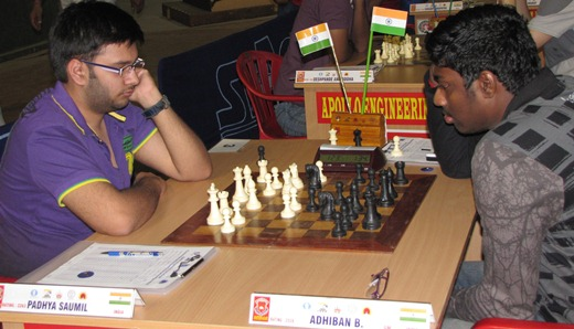 Saumil Padhya playing GM Adhiban Baskaran