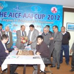 AICF Secretary Mr. Bharat Singh welcoming Mr. Agrawal, Chirman AAI