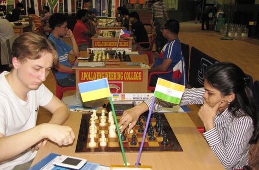 Grandmaster Oleksienko Mikhailo playing International Master Nisha Mohota