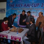 Group Captain J Rajendra of Indian Air Force inaugurating the final round matches with inaugural move in first board (1)