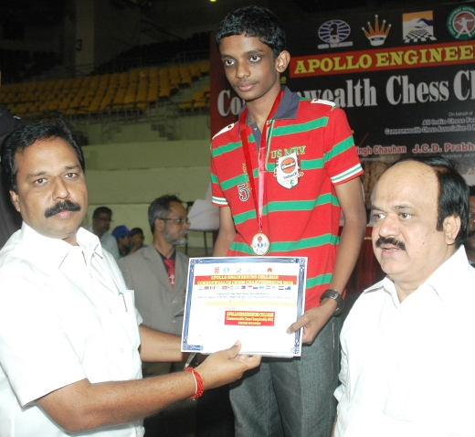 N R Sivapathy, Hon'ble Minister, Commonwealth Under 16 Gold medalist S L Narayanan, JCD Prabhakar, MLA, President, All India Chess Federation