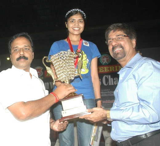 N R Sivapathy, Hon'ble Minister, Commonwealth Woman Champion 2012 Sowmya Swaminathan, Krishnamachari Srikkanth, former Captain, Indian Cricket team