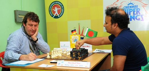 GM Henrik Teske (Germany) playing GM Niaz Murshed (Bangladesh)