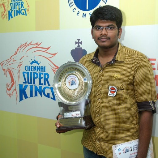 Grandmaster Lalith Babu with the Champion's trophy