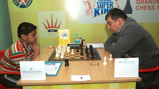 Young Aniruddh Aiyengar playing against top seed Grandmaster Aleksandrov Aleksej of Belarus