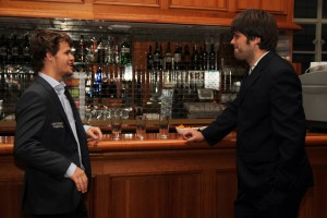 Magnus Carlsen with his second Peter Heine Nielsen in London