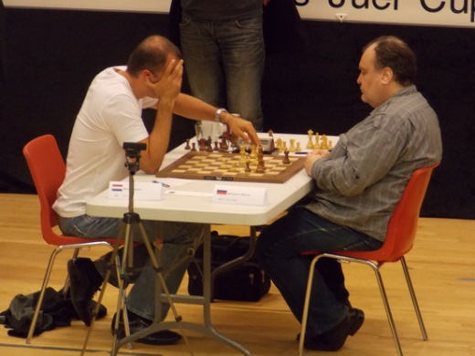GM Ivan Sokolov (NED) and GM Evgeny Gleizerov (RUS)