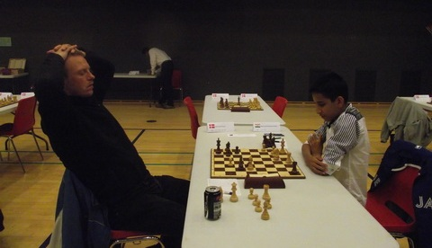 Henrik Emil Bruun seems relaxed but later on Mohammad Nubairshah Shaikh mated him with bishop and knight