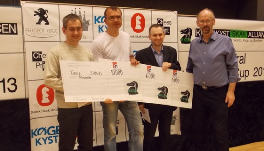 Tied on first place - Yuri Solodovnichenko, Ivan Sokolov, Mikhail Ulibin and chief organizer Finn Stuhr