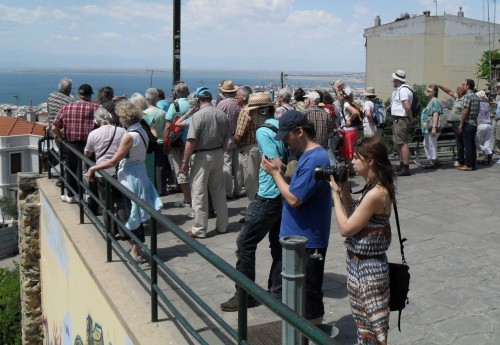 Group of tourists at the Byzantine Castles